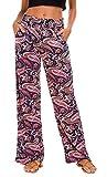 urban GoCo Mujer Pantalón Palazzo de Pierna Ancha Casual Estampado Floral Baggy Pantalones (X-Large, 6)