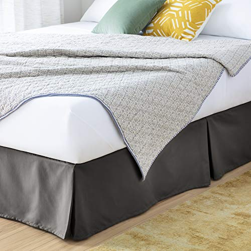 Linenspa 14 Inch Wrinkle and Fade Resistant-Machine Washable-Easy Use Pleated Microfiber Bed Skirt, Queen, Graphite