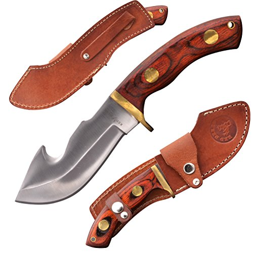 RED DEER Full Tang Hunting Knife with Leather Sheath Natural Wood Handle