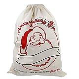 TRIXES Saco Grande Blanco con Cordones para Navidad, Estafeta, Santa Claus y Renos