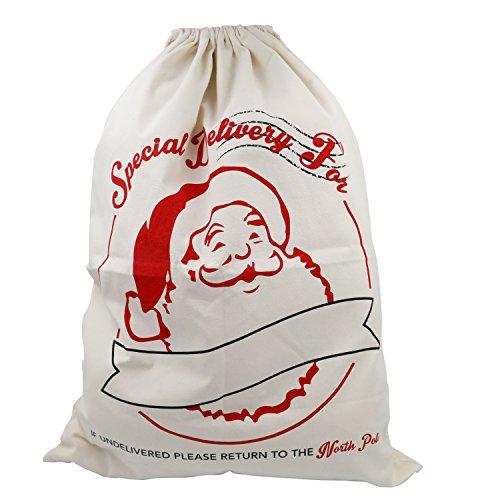 TRIXES Grande Sacco Postale Bianco con Laccetti di Babbo Natale.