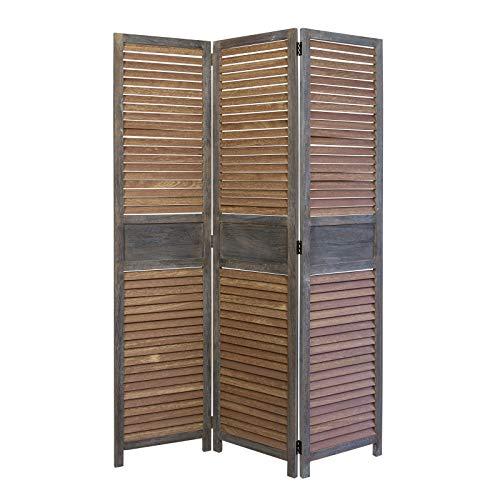Homestyle4u 1364, Paravent Raumteiler 3 teilig, Holz Lamellen, Braun
