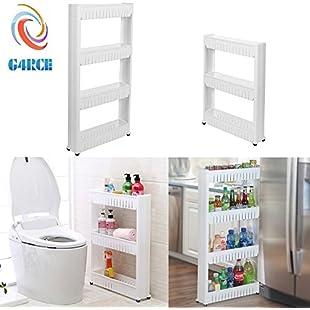 G4RCE Slim Slide Out Kitchen Trolley Rack Holder Storage Shelf Organiser Moving Wall Cabinets Tower Holder Rack on Wheels 3 Tier & 4 Tier:Interoot