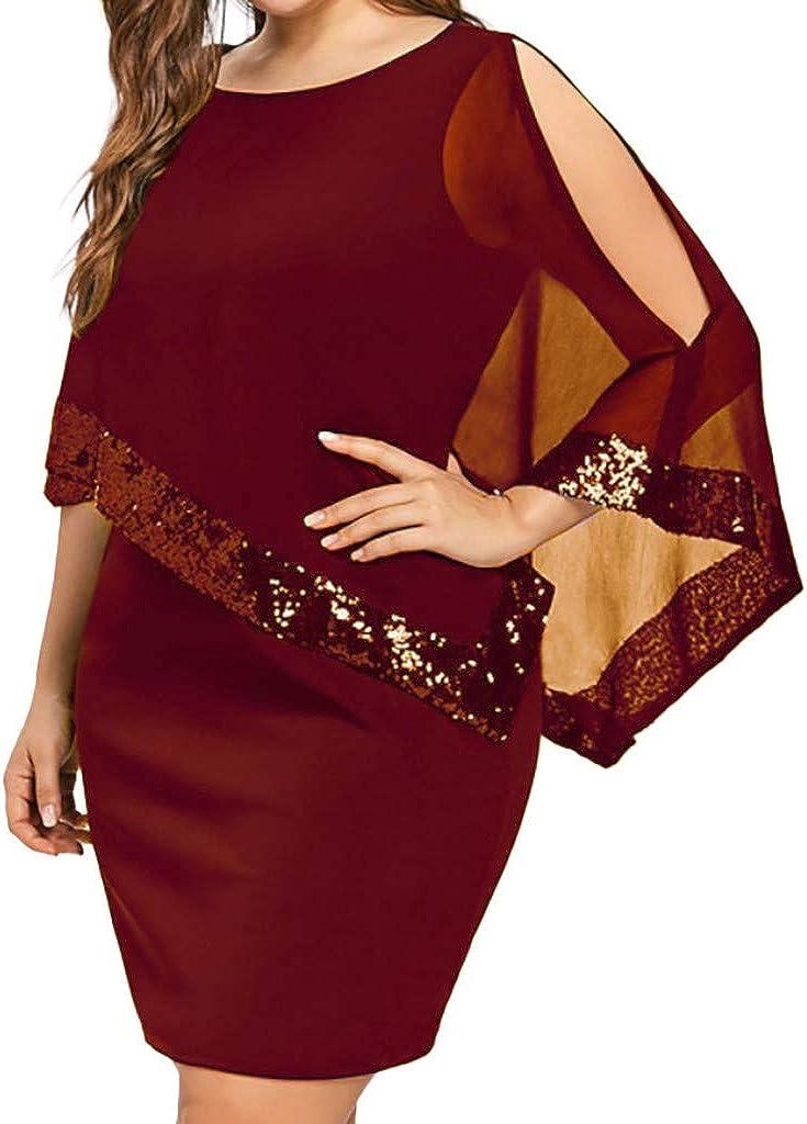 Clearence!!! Plus Sequins Dresses, Limsea Women Plus Size Cold Shoulder Asymmetric Chiffon Strapless Dress
