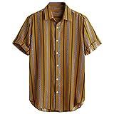 Men's Relaxed-Fit Silk/Linen Tropical Leaves Jacquard Shirt Hawaiian Flower Print Casual Button Down Short...