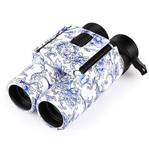 JYCTD Binocolo 10X25 Visione Notturna HD Zoom Telescopio Ottico con Binocolo Tascabile in Porcellana Cinese Blu E Bianca per Campeggio Escursionismo Concerto Bird Watching