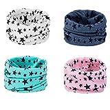 Richaa 4 Pezzi Sciarpe Infinity per Bambini, Scaldacollo in Cotone con Motivo Stella Sciarpe multiuso Cappello Bandana per Ragazze Ragazzi