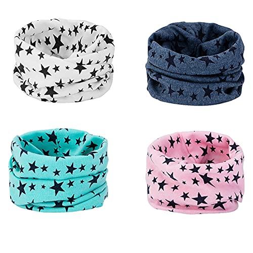 Richaa 4 Pcs Infinity Echarpes pour Enfants, Coton Echarpe Casquettes Bonnets et Chapeaux Bebe Snood pour Garçons Filles 0-8 Ans