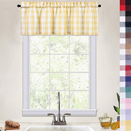 CAROMIO Buffalo Check Gingham Pattern Thick Valance Curtains for Kitchen Cafe Curtains Bathroom Window Curtains, 52x15 Inches, Yellow/White