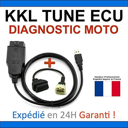 KKL - Maleta de diagnóstico especial para moto, compatible con TUNE ECU DUCATI APRILIA KTM TUNEECU – Lección/borrado defectos / programación de mapas (Interfaz KKL + adaptador KTM)