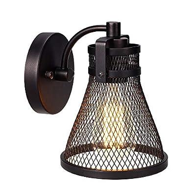 AVISARA Farmhouse Wall Light Fixture - Indoor Vintage Sconce Mount Lamp - Industrial Hardwired Lighting - Rustic Gooseneck Oil Rubbed Bronze Metal Mesh for Bedside Kitchen Bathroom Stairway Bedroom