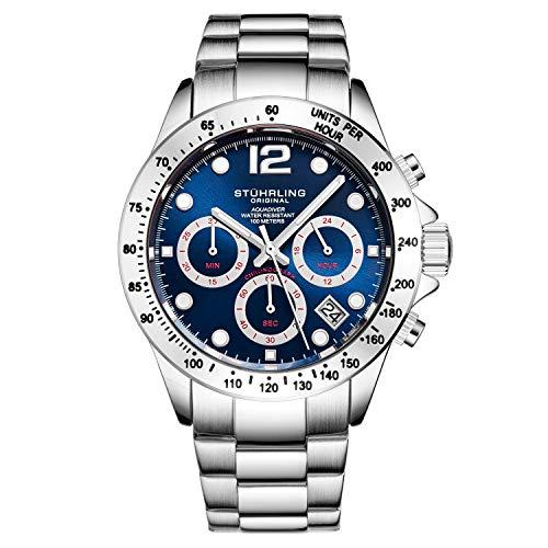 Stührling Original orologio cronografo da uomo, in acciaio INOX, con vite, corona e resistente all' acqua 100 m. quadrante analogico al quarzo Aquadiver Collection (Silver/Blue)