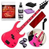 Dean Custom Zone Electric Bass Guitar, Fluorescent Pink with Accessory Bundle