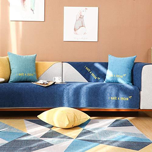 YUTJK Chenilla Pure Color Dream, Toalla Antideslizante de Franela, Cojín de Sofá Universal de Cuatro Estaciones, Cojín de Protección de Sofá, para otoño, Azul Marino