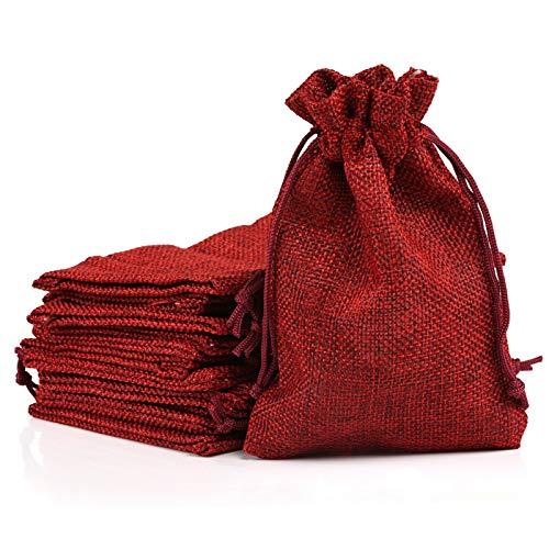 Naler 24 x Jutesäckchen Rot Jute Beutel für Adventskalender Stoffbeutel Natur Säckchen Geschenksäckchen - 10 x 14 cm
