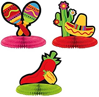 Amscan Fiesta Cinco de Mayo Assorted Mini Honeycomb Centerpiece Decoration (9 Piece), Multi Color, 7 x 5.5