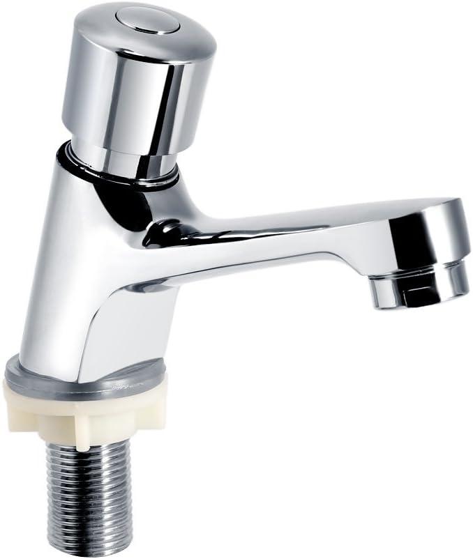 Grifo monomando para baño - Grifo monomando para lavamanos Vanity Baño Grifo para lavamanos Vanity Baño para público Ktchen Baño Acabado cromado Cierre automático Ahorro de tiempo Retardo del lavabo