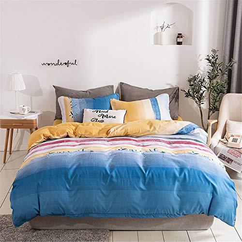 Bettbezug Set, DOTBUY Modern Bettwäsche-Set 3 TLG Bettwäsche Set Polyester Super Weiche mit Reissverschluss Atmungsaktive Bettbezug Kissenbezüge Bettlaken (Verlaufsstreifen,135x200cm)