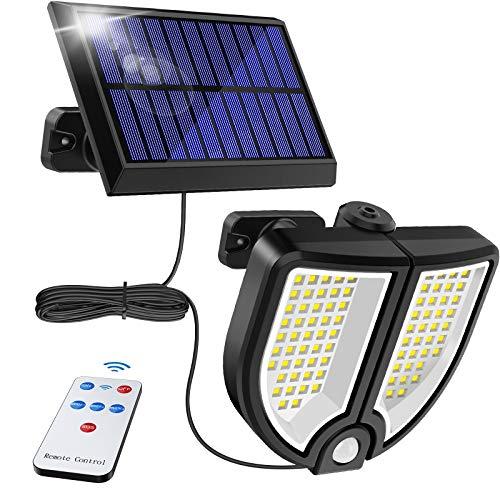 センサーライト ソーラーライト 屋外 ,MPJ 90 LED超高輝度ソーラーライト リモートコントロール付き 2面発光 角度自由調整 3つ知能モード 太陽光発電 運動探知機能(5Mケーブル)付き 防水 防犯ライト 自動点灯 屋外照明 庭 玄関 ガーデンライ