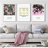 Decoración nórdica Flor rosada Arte de la pared Pintura de la lona Citas de Londres Carteles e impresiones Cuadros de la pared para la decoración del hogar de la sala de estar 40x60cmx3 (Sin marco)