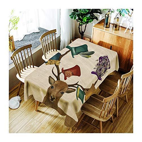 ZHAOXIANGXIANG Le Dîner Pique-Nique Imprimer Table Cloth Elk, Hat Nappe Lavable Minimaliste Décoration Maison Tapis De Table ,90Cm×130Cm