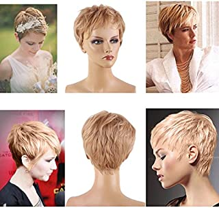HairPhocas Short Pixie cut Wigs curly Synthetic Layer Full Hair Wigs Cosplay Daily Party Wig for Women with Free Wig Cap