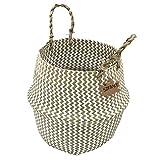 Szetosy - Cesta de junco marino natural tejida a mano, con asa, para almacenar juguetes, ropa sucia o como maceta, Estilo#2, 32CMx28CM