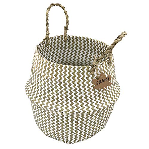 Szetosy - Cesta de junco marino natural tejida a mano, con asa, para almacenar juguetes, ropa sucia o como maceta, Estilo#2, 38CMx36CM