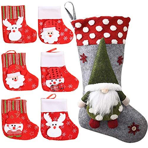 Fiyuer Calza di Natale 7 PCS Christmas Stockings Sacchetti di Caramelle Calzini di Natale per Decorazioni Natalizie Casa
