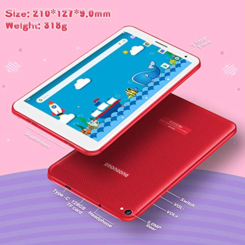 Tablet Android 10.0 (720p-1080p Full HD-Display IPS) 3 GB RAM + 32 GB ROM/128 GB erweiterbar Quad-Core Type-C 5000 mAh Batterie 5.0MP Kamera Bluetooth - Tablet 8 Zoll Rot