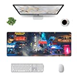 Cyberpunk City Large Mouse Pad, Extended Gaming Mouse Pad, XXL Big Computer Keyboard Mouse Pad with Non-Slip Base and Stitched Edge for Home Office Gaming Work, 31.5x11.8in
