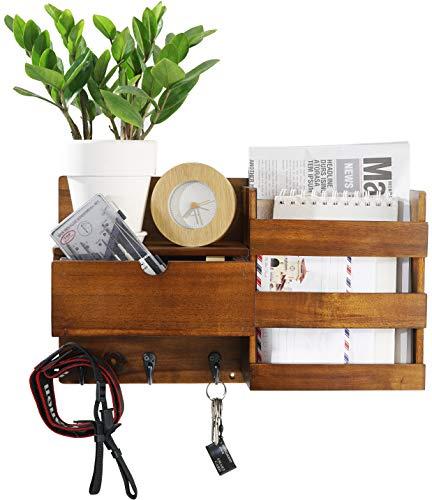 CRIZTA Wall Mount Entryway Mail Envelope Organizer with Drawer, Key Holder Hooks, Leash Hanging, Coat Rack, Letter & Newspaper Storage, Ornament Home Decorative Wall Mounted Floating Shelf (Walnut)