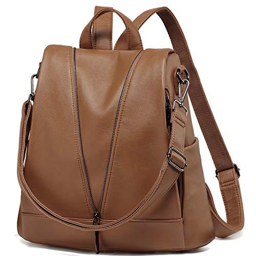 Kasgo Rucksack Damen, Diebstahlsicherer Wasserabweisend Kunstleder Rucksack Casual Daypack Elegant Handtasche für Frauen Hochschule Mädchen Reise Arbeit(Braun)