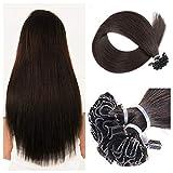 MRS HAIR Estensione dei capelli pre-incollata 100% capelli umani veri U Tipo di punta Agente legante naturale Estensione dei capelli Lisci e morbidi per le donne (20', Nero naturale, 50 ciocche, 50g)