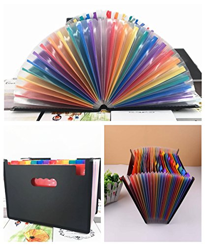 24 Pockets Expanding File Folder/ A4 Accordion File Organizer/Multicolor Portable Expanding File Folder,High Capacity Plastic Business Portable Accordion File Bag,with Colored Tab Office (01) Photo #6