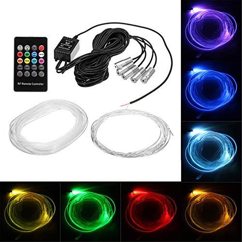Iluminación interior del coche RGB LED Lámpara de ambiente interior de coche Fibra óptica Neon EL tira luz Kit teléfono APP Control remoto sonido activo coche decoración luces