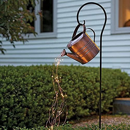 Star Shower Garden Lights Art Light, Regadera solar para exteriores, Decoración de luz con soporte, Lámpara de cuerda de vides de cuento de hadas LED navideña impermeable para pasarela, jardín, patio