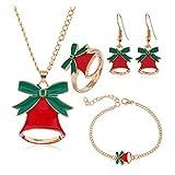 BJ-SHOP Natale Gioielli Regalo Set di Gioielli Natalizi per Bambini Ragazzine Donna Collana Set Orecchini Bracciale Anello Collana per Natale
