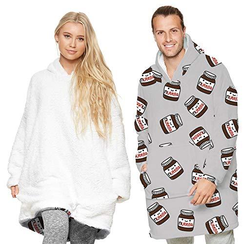 RHSML Manta de gran tamaño con capucha para mujer, manta con capucha, cómoda, cálida, de gran tamaño, forro polar con capucha, bolsillo frontal grande, manta gruesa de felpa (talla única, D)