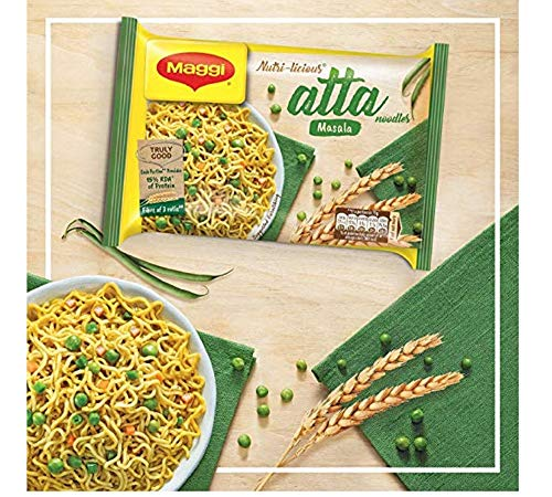 MAGGI Instant Atta Noodles, Masala – 75g (pack of 5) Indian Snacks