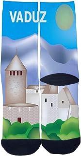 Men's Women's Custom Crew Socks Cartoon Style Travel Poster Vaduz Liechtenstein Socks Colorful Patterned Comfortable Socks