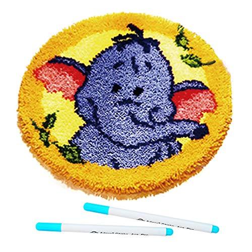Kingsea Latch Hook Kit, Elephant Pattern DIY Rug, 19 Inch DIY Needle Craft Shaggy Kids Rug Pattern Paint Cross Stitch