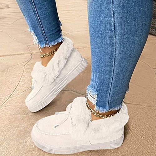 ZB TOP Kandylane, Botas Planas de Moda Informal, cómodas y Gruesas Zapatillas para Mantener el Calor, Botas de Nieve de Invierno para Mujer 38 Blanco