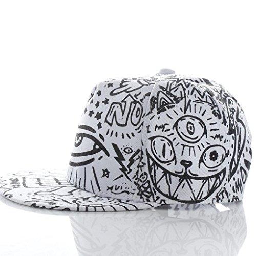 VESNIBA Fashion Vintage Baseball Flat Bill Hat Hippie Eye Hiphop Adjustable Cap (White)