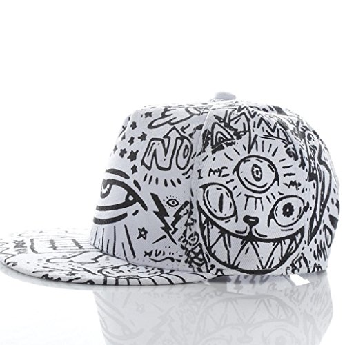VESNIBA Fashion Vintage Baseball Flat Bill Hat Hippie Eye Hiphop Adjustable Cap (White)