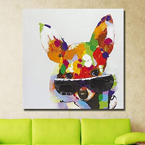 WunM Studio olieverfschilderij op canvas met de hand geschilderd, abstracte mooie grappige dierenschilderijen, kleurrijke hond met zwarte zonnebrillen, groot modern Wall Art wooncultuur voor binnen woonkamer slaapkamer kantoor 120×120 cm
