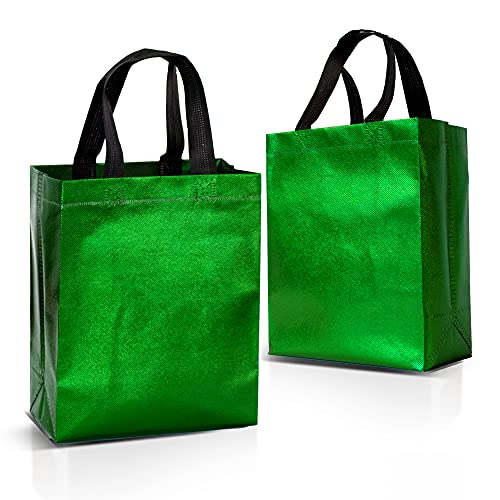 """12 Green Gift Bags Set, Non-woven Reusable Shiny Green Small Gift Bags With Glossy Finish - Ideal As Birthday Bag, Favor Bags, Goodie bags for Wedding, Party, Christmas - 8x4x10"""" - Small- Medium Size"""