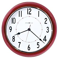 """Howard Miller Crimson Hall Wall Clock 625-653 – 22"""" Oversized Red Metal Frame Home Decor with Quartz Movement"""