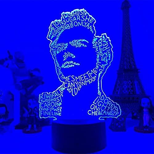 Gevo Apan Luz De Noche Led 3D Harry Styles Lámpara De Regalo para Fanáticos Decoración De Dormitorio Luz Led Sensor Táctil Que Cambia De Color Lámpara De Escritorio De Trabajo Harry Styles