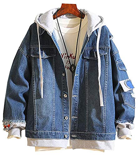 LifeHe Men Denim Jacket with Hoodie with Patches Oversized (Deep Blue, L)